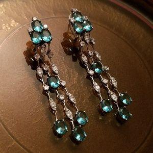 Blue & White Stone Sterling Silver Dangle Earrings